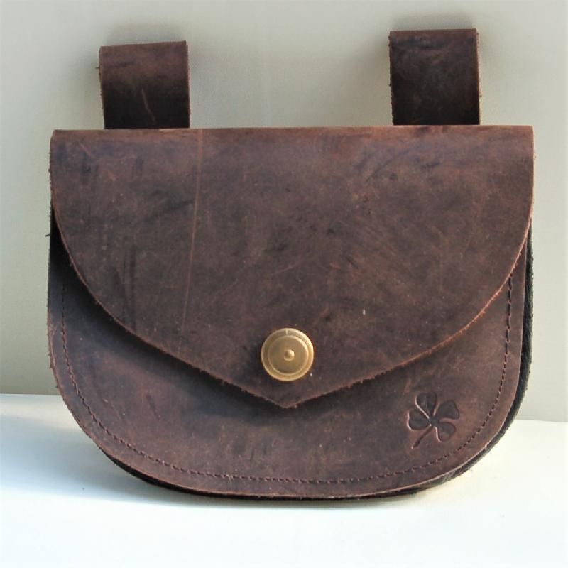 Celtic Leather Craft Belt Bag - oiled Leather Belt Bag - oiled dark brown