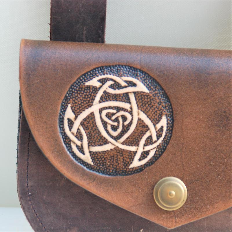 Celtic Leather Craft Belt Bag Open Triad Belt Bag