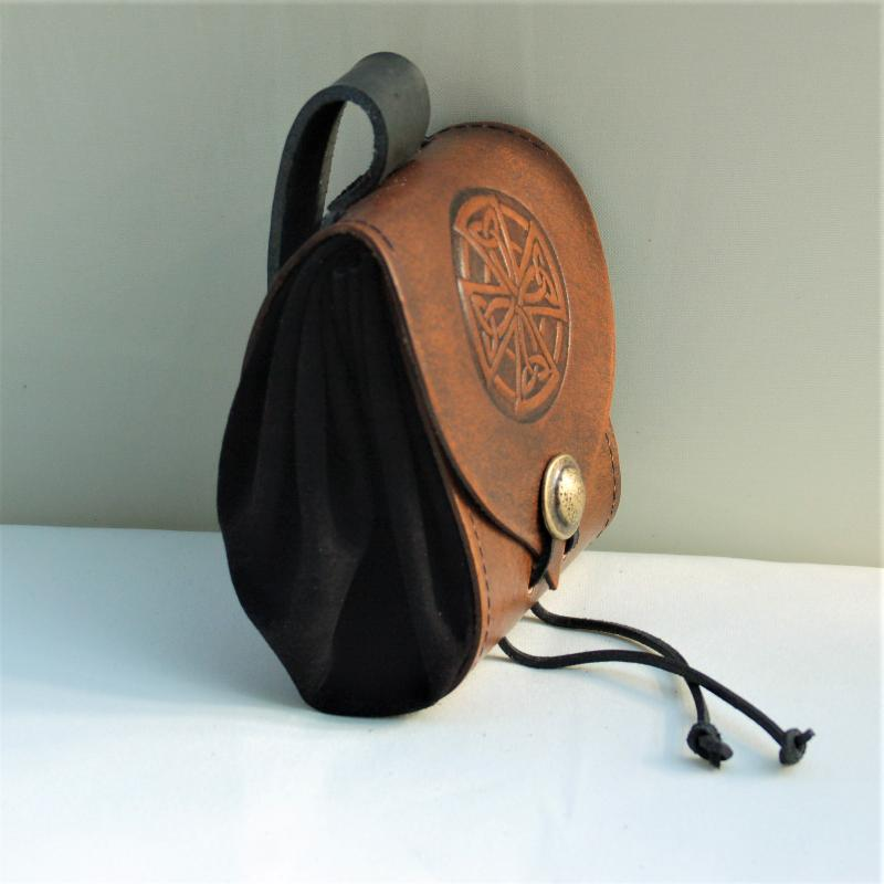 Celtic Leather Craft Belt Pouch Celtic Cross Belt Pouch
