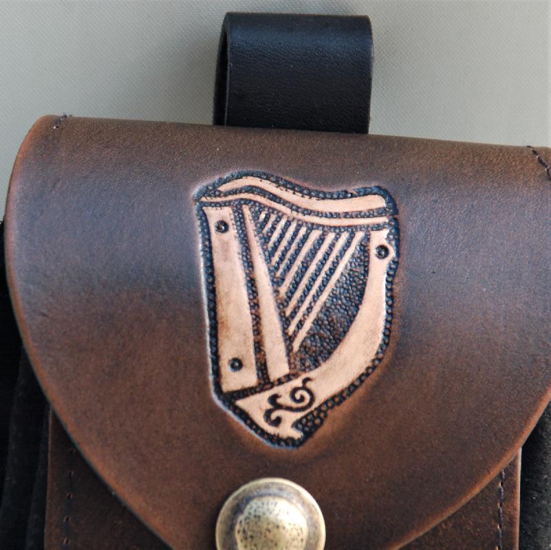 Celtic Leather Craft Belt Pouch Celtic Harp Belt Pouch
