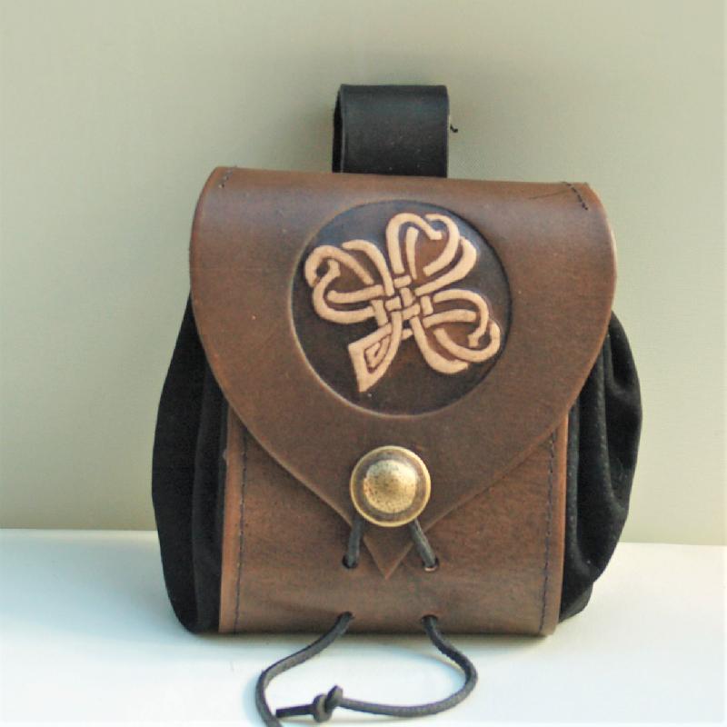 Celtic Leather Craft Belt Pouch Shamrock No.2 Belt Pouch