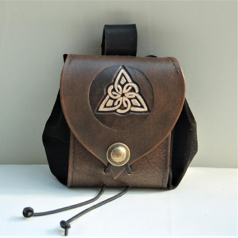 Celtic Leather Craft Belt Pouch Triangle Knot Belt Pouch