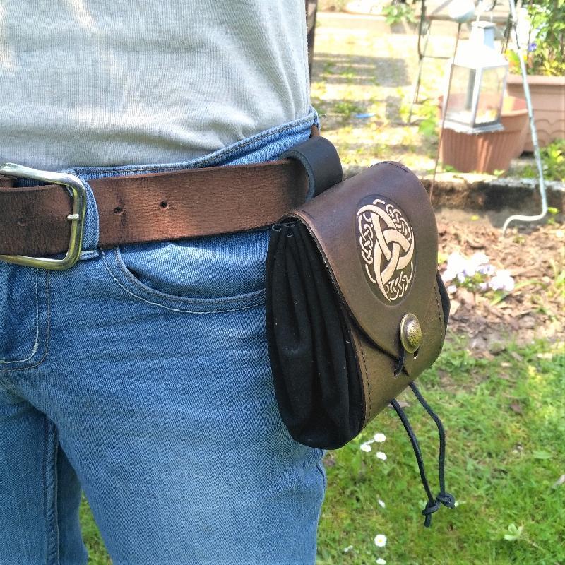 Celtic Leather Craft Belt Pouch Triquetra Tribal Belt Pouch