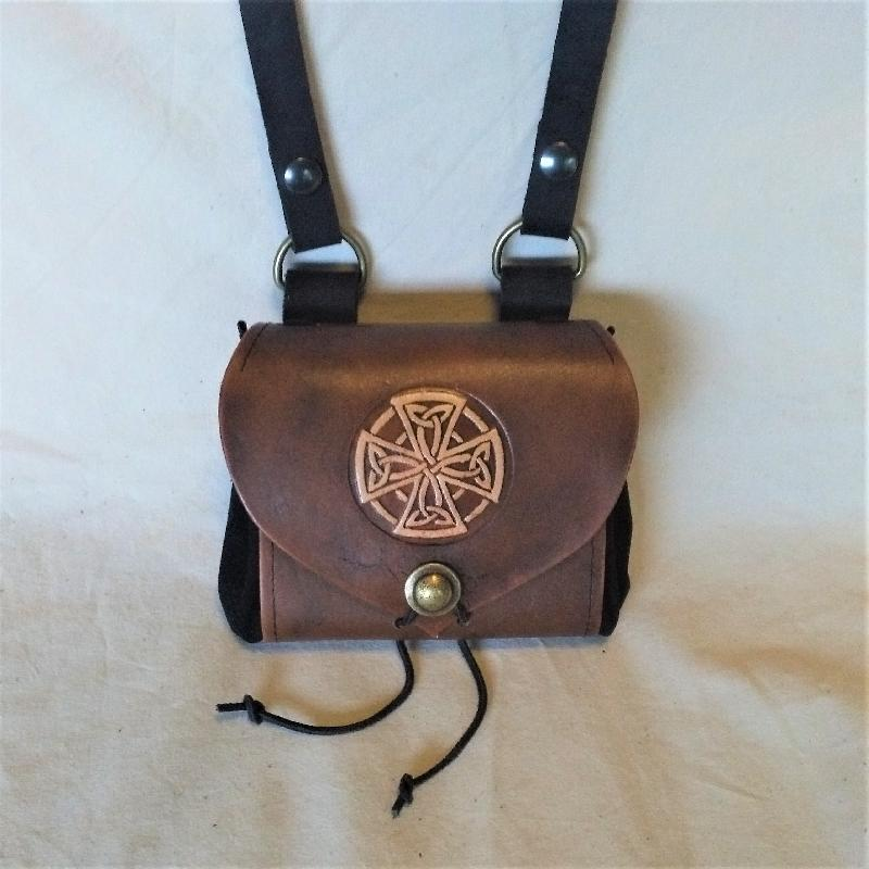 Celtic Leather Craft Belt Pouch - wide - Celtic Cross Belt Pouch - wide