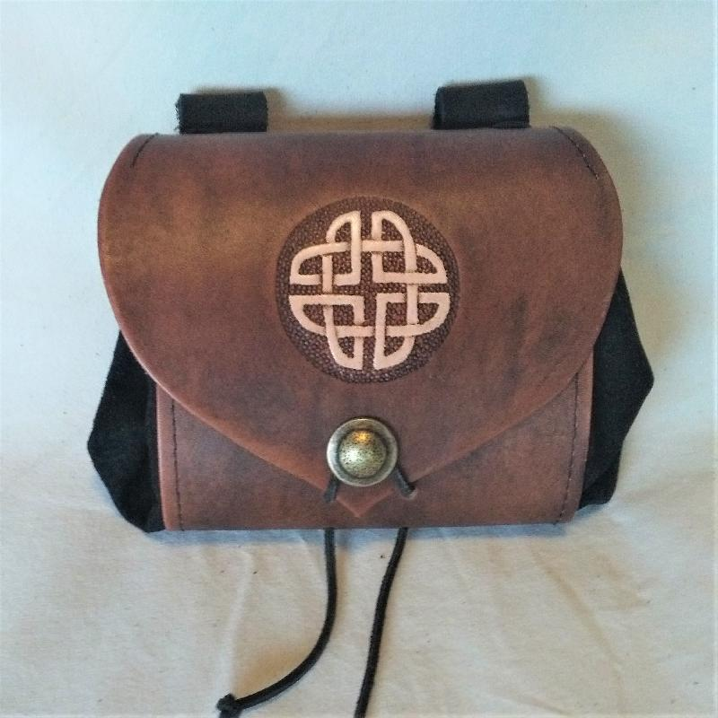 Celtic Leather Craft Belt Pouch - wide - Celtic Knot Belt Pouch - wide