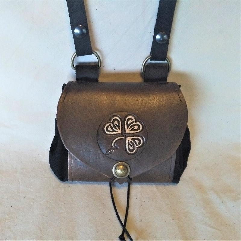 Celtic Leather Craft Belt Pouch - wide - Shamrock Belt Pouch - wide
