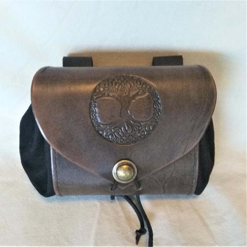 Celtic Leather Craft Belt Pouch - wide - Tree Of Life Belt Pouch - wide