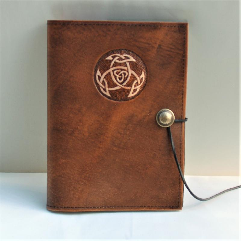 Celtic Leather Craft Book Cover A5 Open Triad Book Cover