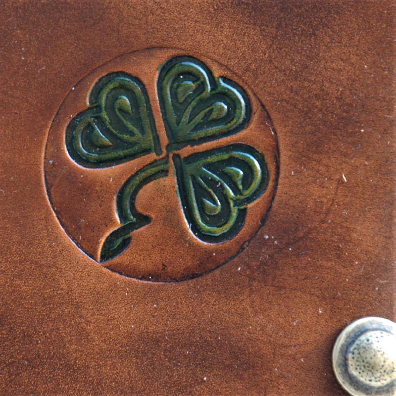 Celtic Leather Craft Book Cover A5 - Shamrock No.1 Book Cover