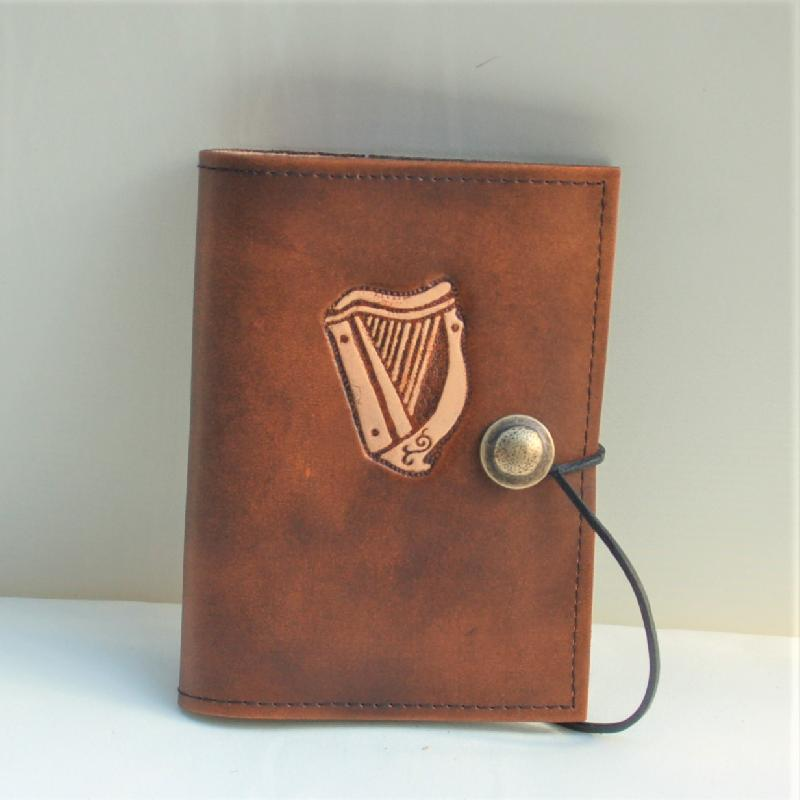 Celtic Leather Craft Book Cover A6 Celtic Harp Book Cover