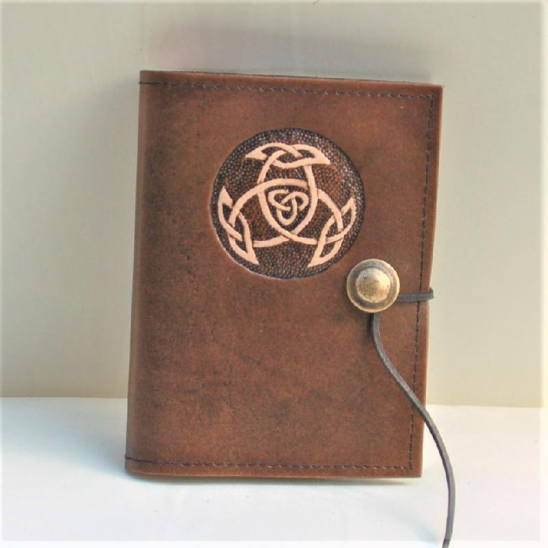 Celtic Leather Craft Book Cover A6 Open Triad Book Cover
