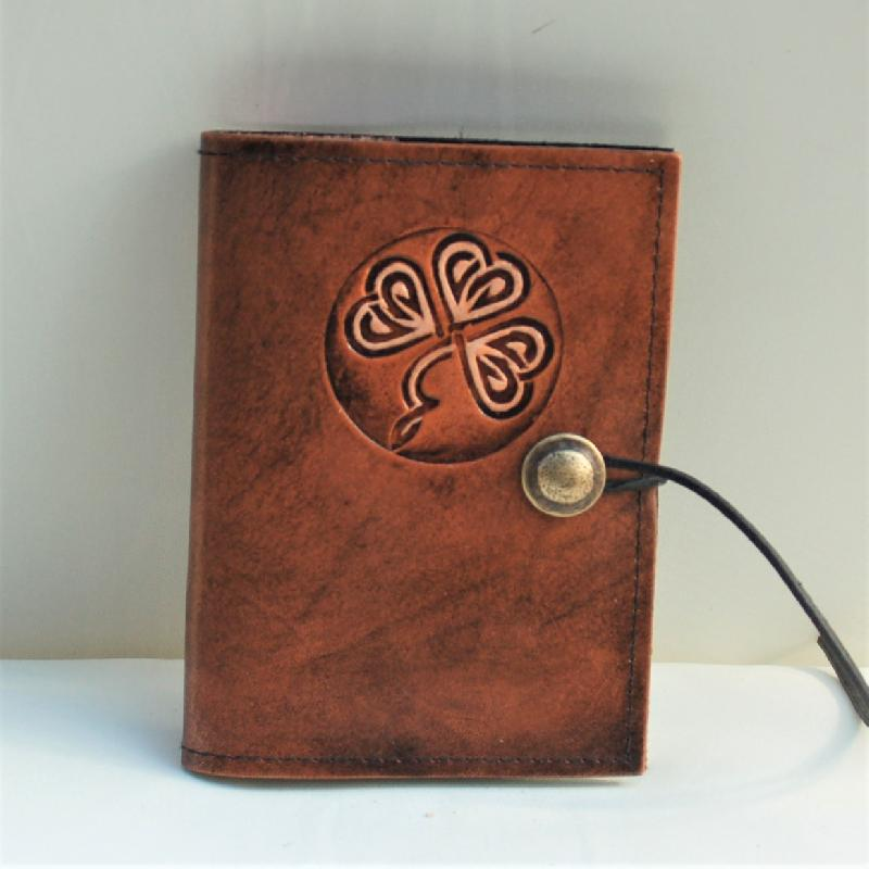 Celtic Leather Craft Book Cover A6 Shamrock No.1 Book Cover