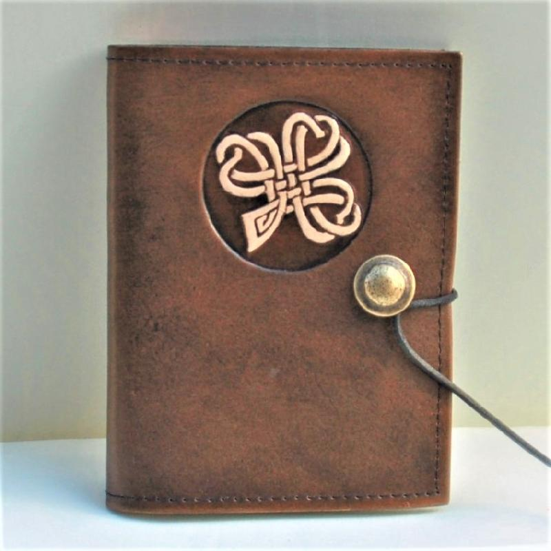 Celtic Leather Craft Book Cover A6 Shamrock No.2 Book Cover