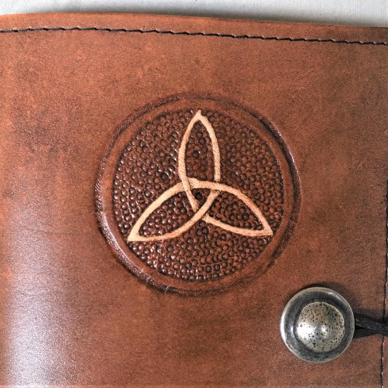 Celtic Leather Craft Book Cover A6 Triquetra Book Cover