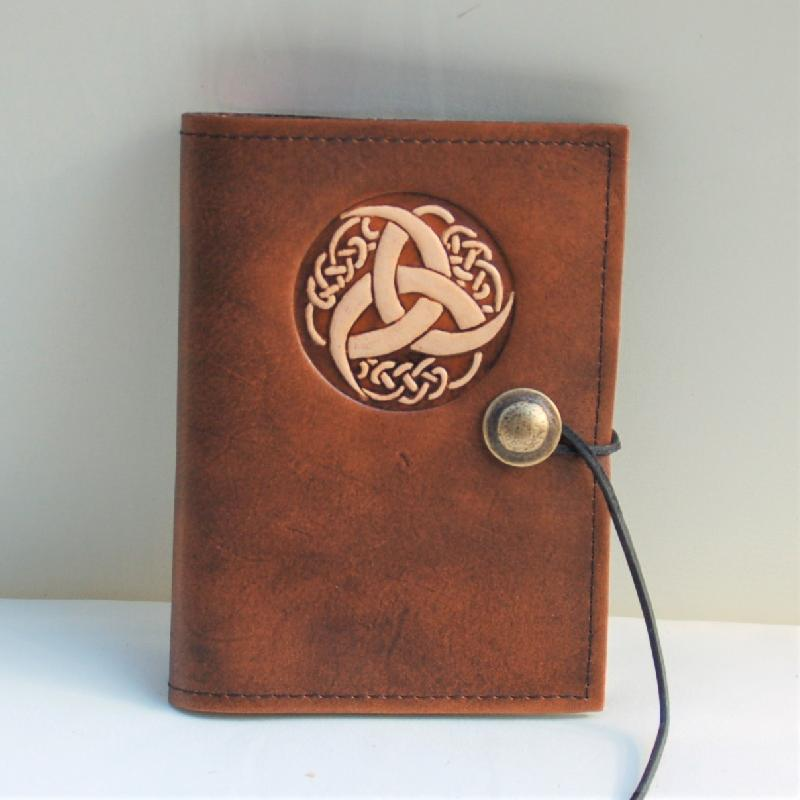 Celtic Leather Craft Book Cover A6 Triquetra Tribal Book Cover