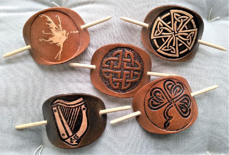 Celtic Leather Craft Hair Slide Celtic Harp Hairslides