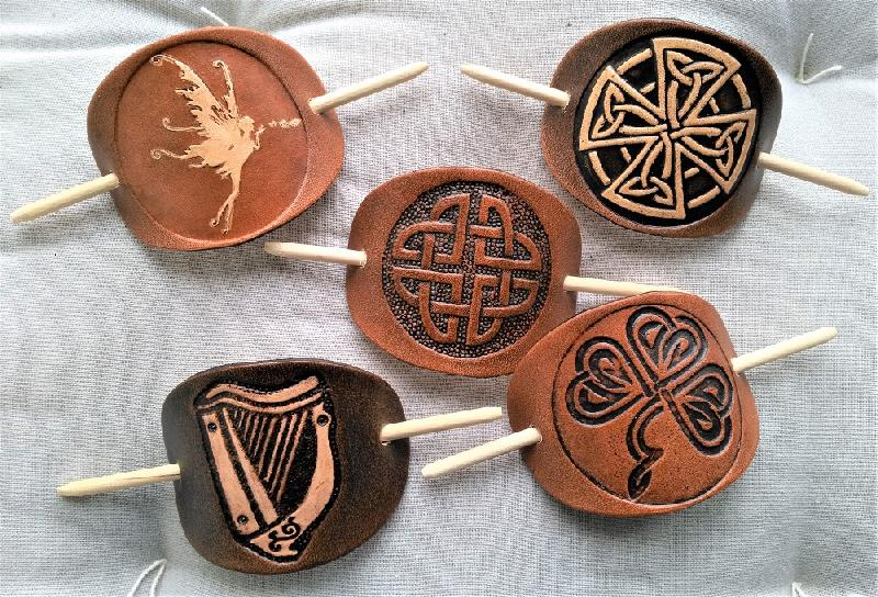 Celtic Leather Craft Hair Slide Fairy Hairslides