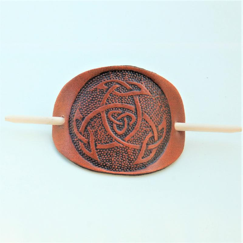 Celtic Leather Craft Hair Slide Open Triad Hairslides