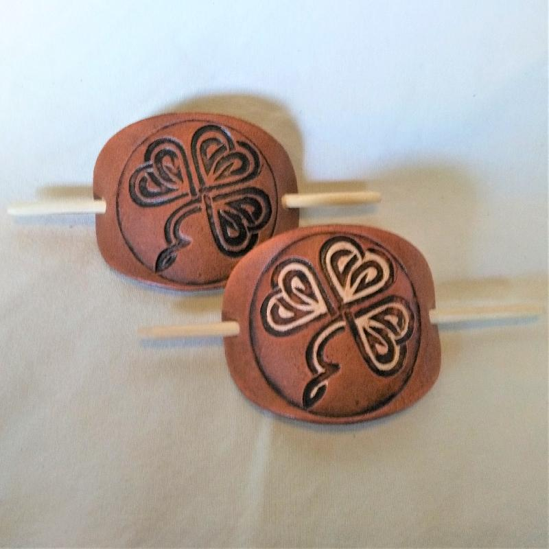 Celtic Leather Craft Hair Slide Shamrock No.1 Hairslides
