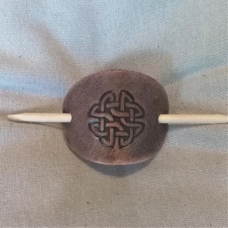 Celtic Leather Craft Hair Slide - small Celtic Knot Circle Hair Slide - small
