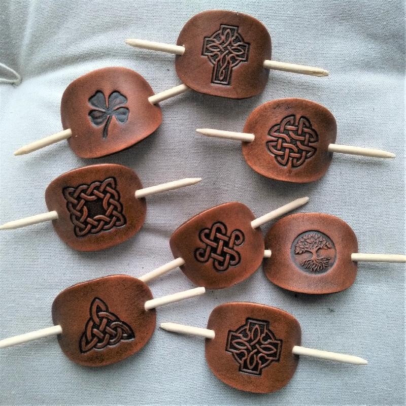 Celtic Leather Craft Hair Slide - small Shamrock Hair Slide - small