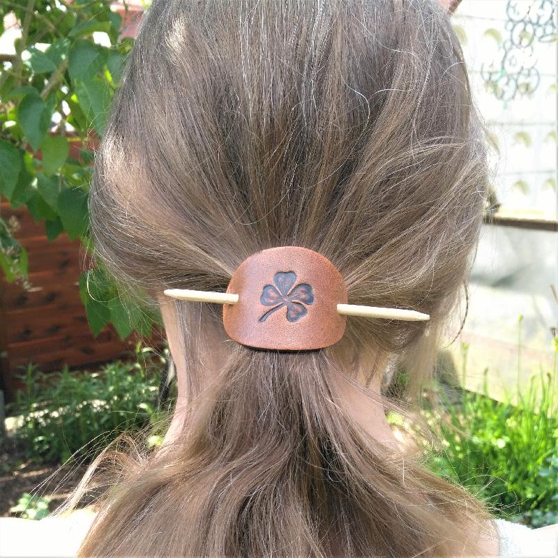 Celtic Leather Craft Hair Slide - small Triangle Knot Hair Slide - small