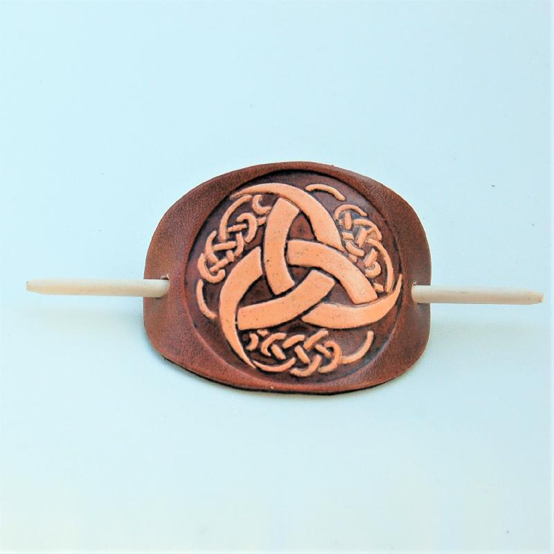 Celtic Leather Craft Hair Slide Triquetra Tribal Hairslides