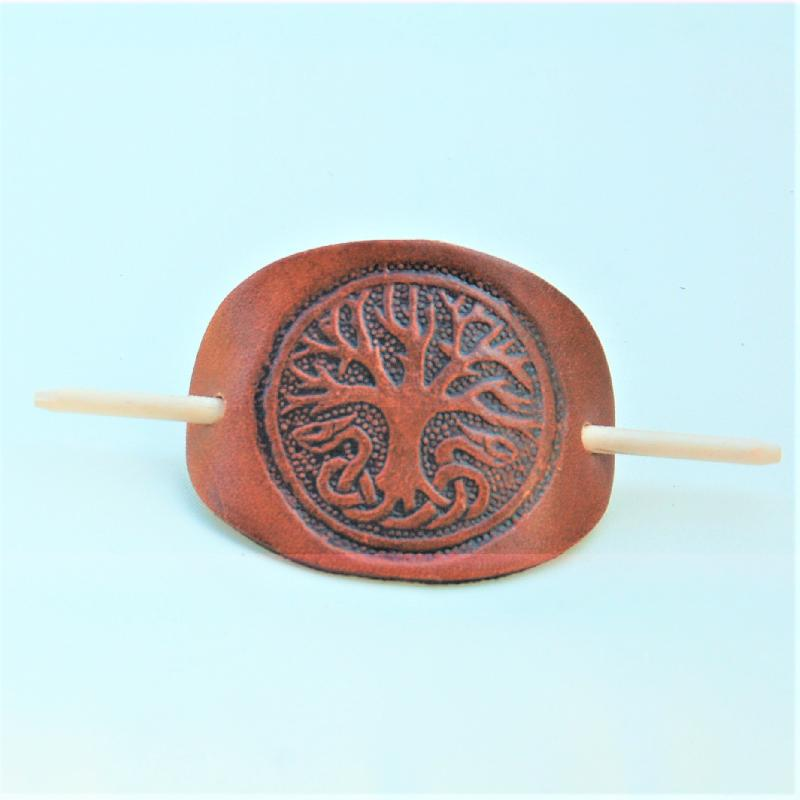 Celtic Leather Craft Hair Slide Yggdrasil Hairslides