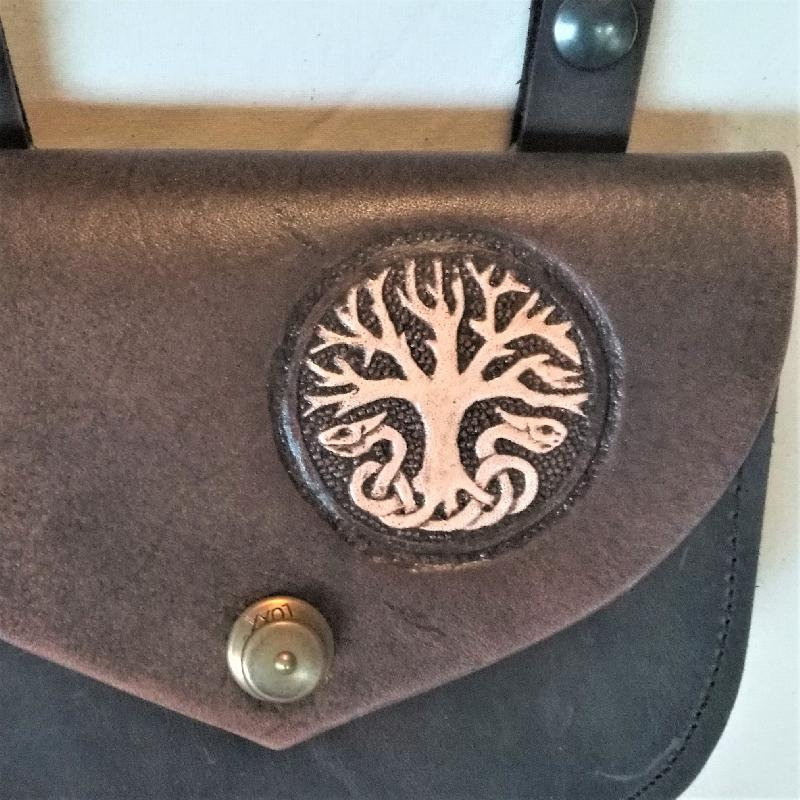 Celtic Leather Craft Sgoulder Bag - small Yggdrasil Shoulder Bag - small