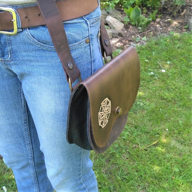 Celtic Leather Craft Shoulder Bag Celtic Cross Shoulder Bag