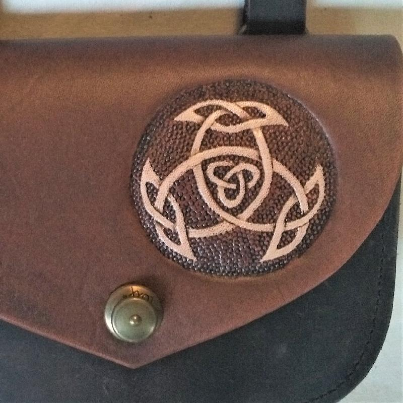 Celtic Leather Craft Shoulder Bag small Open Triad Shoulder Bag - small