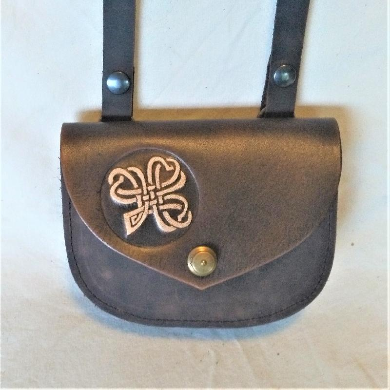 Celtic Leather Craft Shoulder Bag small Shamrock Shoulder Bag - small
