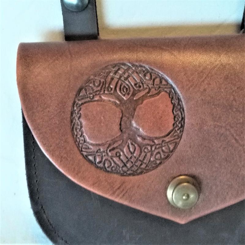 Celtic Leather Craft Shoulder Bag - small Tree Of Life Shoulder Bag - small