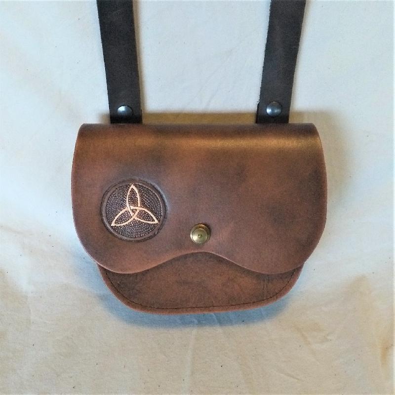 Celtic Leather Craft Shoulder Bag Triquetra Shoulder Bag
