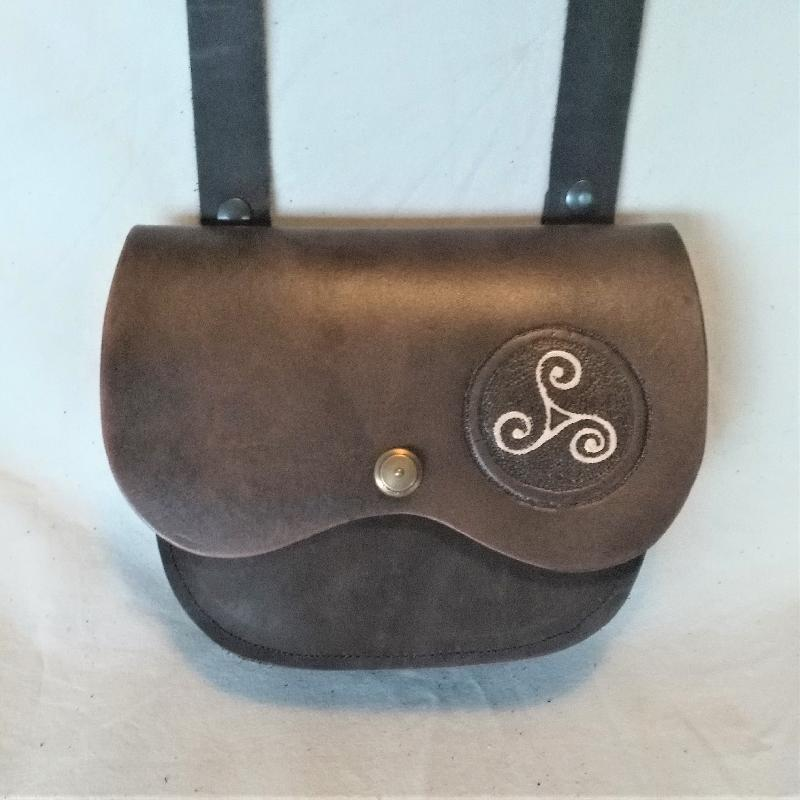 Celtic Leather Craft Shoulder Bag Triskele Shoulder Bag