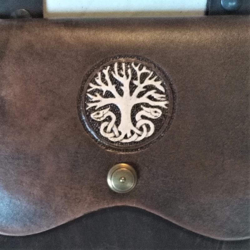 Celtic Leather Craft Shoulder Bag Yggdrasil Shoulder Bag