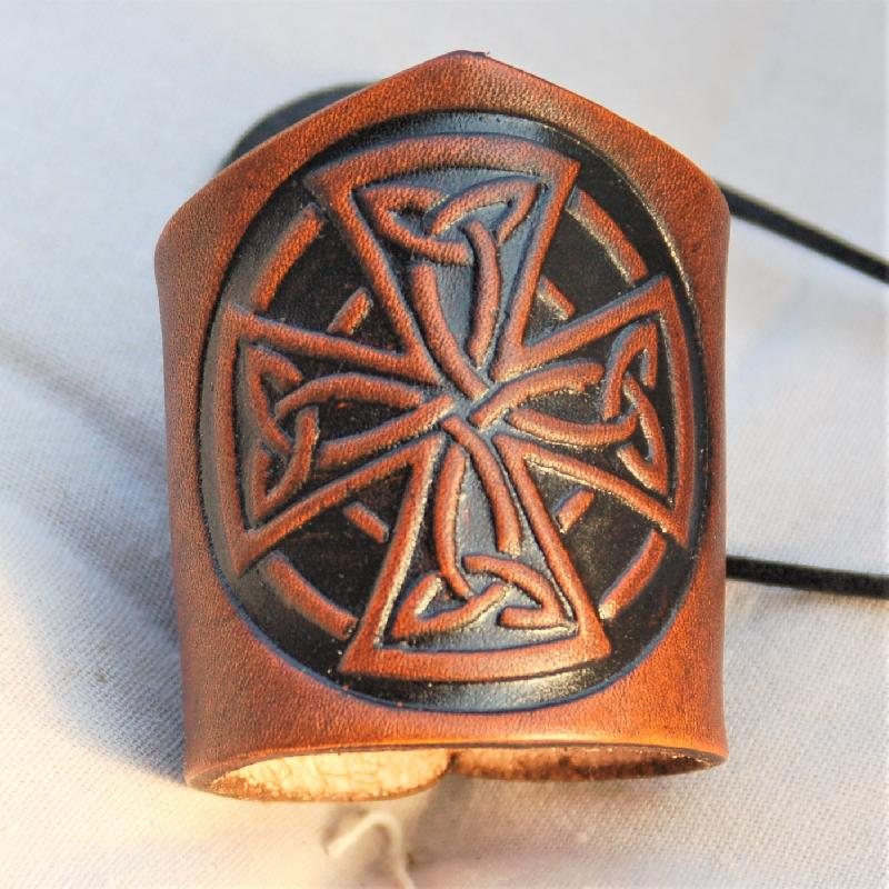 Celtic Leather Craft Wristband Celtic Cross Wristband