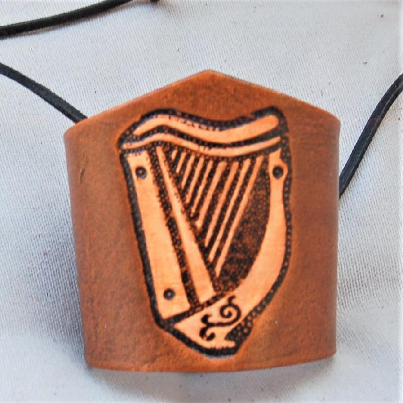 Celtic Leather Craft Wristband Celtic Harp Wristband
