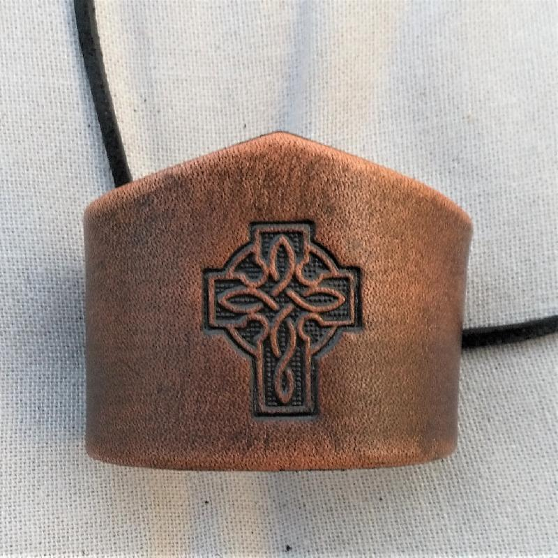 Celtic Leather Craft Wristband - narrow Celtic Cross Wristband - narrow