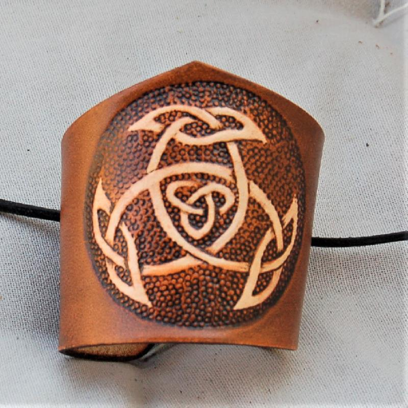 Celtic Leather Craft Wristband Open Triad Wristband