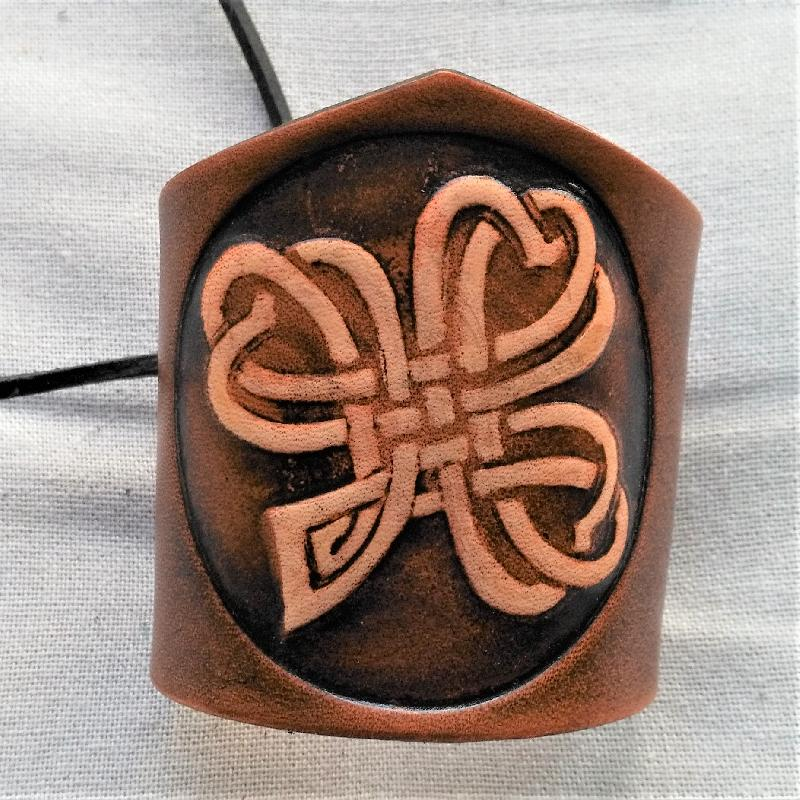 Celtic Leather Craft Wristband Shamrock No.2 Wristband