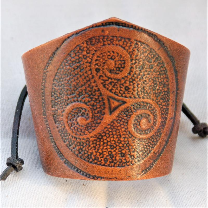 Celtic Leather Craft Wristband Triskele Wristband